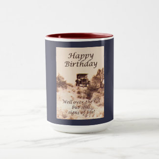 Over the hill happy Birthday, vintage car Mug