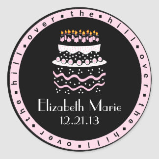 Over The Hill Pink Birthday Cake Round Sticker