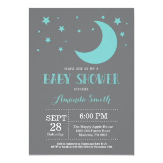 Over the Moon Baby Shower Invitation Auqa