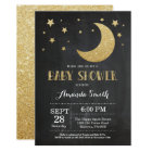 Over the Moon Baby Shower Invitation Gold Glitter