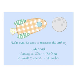 Over the Moon Birth Announcement Postcard
