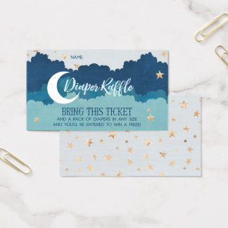 Over the Moon Diaper Raffle Cards - Blue