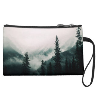 Over the Mountains and trough the Woods Suede Wristlet