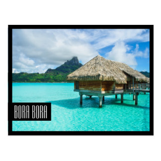 Over-water bungalow Bora Bora black frame postcard