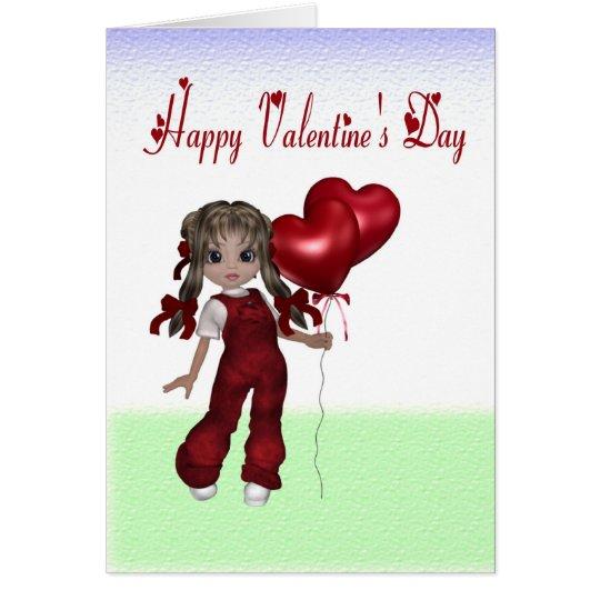 Overalls Doll Valentine Card