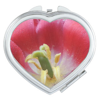 Overblown Tulip Flower  Heart Compact Mirror