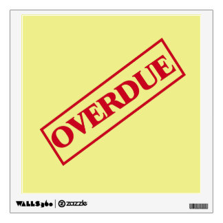 Overdue Stamp - Red Ink Yellow Background Wall Decal
