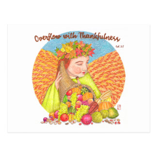 Overflow with Thankfulness Inspirational Postcard