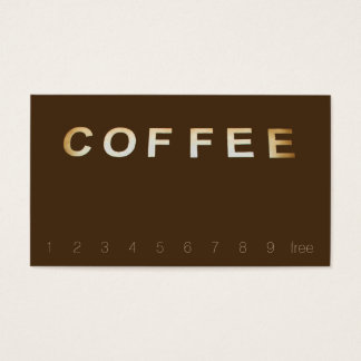 Overhead Coffee Sign Letters Loyalty Dark Brown Business Card