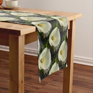 Overhead Shot of A Cream Calla Lily In Soft Focus Short Table Runner
