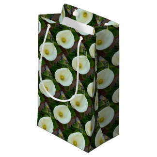 Overhead Shot Of A Heart Shaped Cream Calla Lily Small Gift Bag
