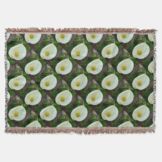 Overhead Shot Of A Heart Shaped Cream Calla Lily Throw Blanket