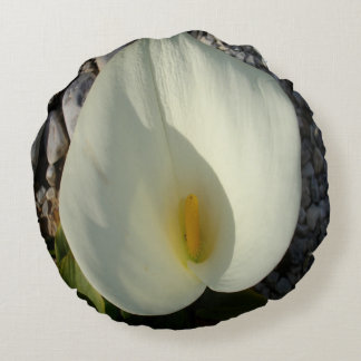 Overhead View of A White Calla Lily Against Pebble Round Pillow