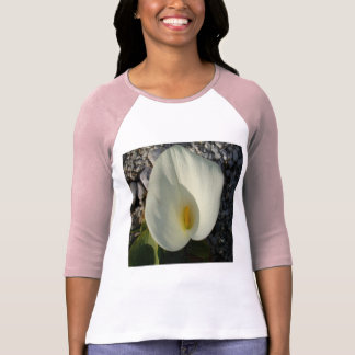 Overhead View of A White Calla Lily Against Pebble T-Shirt