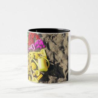 Overhead view of colourful children's plastic Two-Tone mug