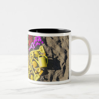 Overhead view of colourful children's plastic Two-Tone mug