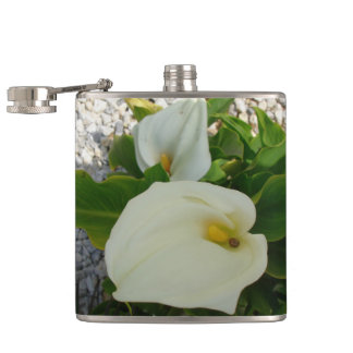 Overhead View Of Two Calla Lilies In A Garden Hip Flask