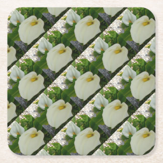 Overhead View Of Two Calla Lilies In A Garden Square Paper Coaster