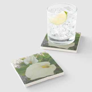 Overhead View Of Two Calla Lilies In A Garden Stone Coaster