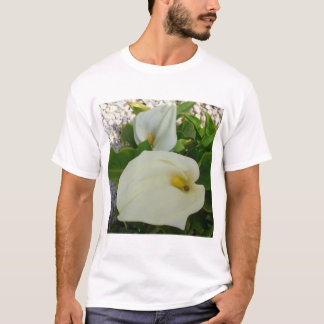 Overhead View Of Two Calla Lilies In A Garden T-Shirt