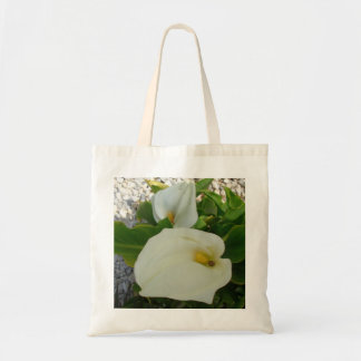 Overhead View Of Two Calla Lilies In A Garden Tote Bag