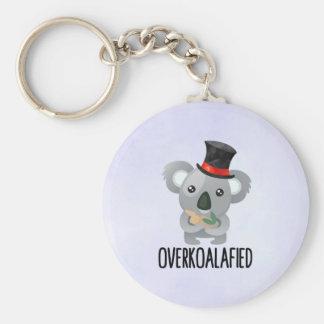 Overkoalafied Pun Cute Koala in Top Hat Keychain