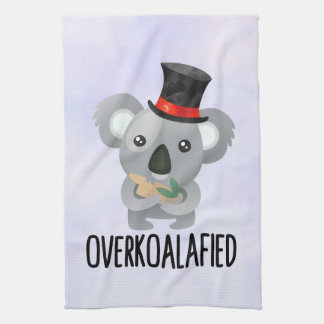 Overkoalafied Pun Cute Koala in Top Hat Kitchen Towel