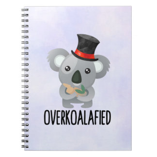 Overkoalafied Pun Cute Koala in Top Hat Notebook