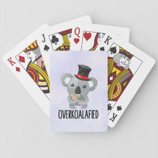 Overkoalafied Pun Cute Koala in Top Hat Playing Cards