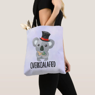 Overkoalafied Pun Cute Koala in Top Hat Tote Bag