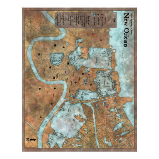 Overland City Map: Post-Apocalyptic Blues Poster