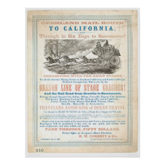 Overland Mail Route to CA 1866 (1257A) -Unrestored Poster