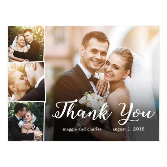 Overlapped Photos Wedding Thank You Card Postcard | Zazzle.ca