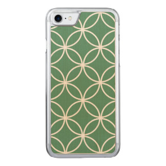 Overlappin Circles Sage Green White Pattern Carved iPhone 8/7 Case