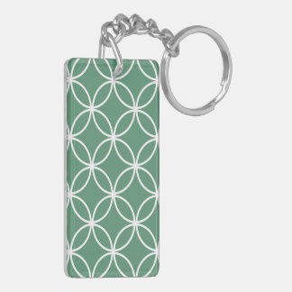 Overlapping Circles Pattern Sage Green White Double-Sided Rectangular Acrylic Keychain