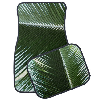 Overlapping Palm Fronds Tropical Green Abstract Car Mat