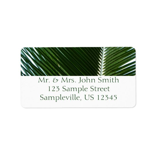 Overlapping Palm Fronds Tropical Green Abstract Label