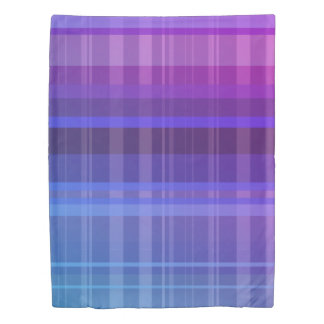 Overlapping Purple Blue Pink Stripes Duvet Cover