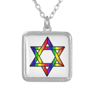 Overlapping Star of David Rainbow Zazzle.png Silver Plated Necklace