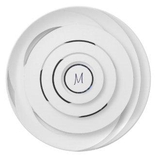 Overlapping White Rings - faux 3D - Melamine Plate