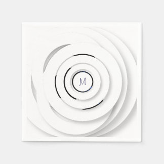 Overlapping White Rings - faux 3D - Paper Napkin