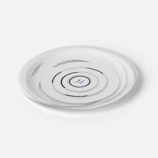 Overlapping White Rings - faux 3D - Paper Plate