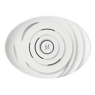 Overlapping White Rings - faux 3D - Platter