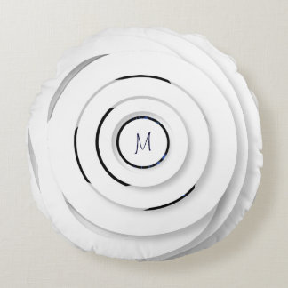Overlapping White Rings - faux 3D - Round Pillow
