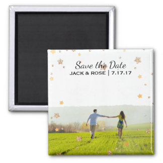 Overlay Gold Stars   Custom Photo Save the Date Magnet