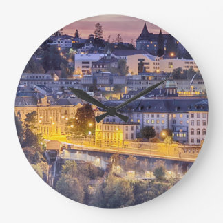 Overlooking Fribourg in the early evening Large Clock