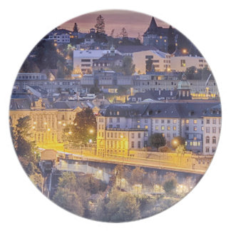 Overlooking Fribourg in the early evening Plate