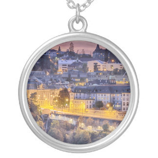 Overlooking Fribourg in the early evening Silver Plated Necklace