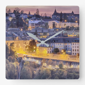 Overlooking Fribourg in the early evening Square Wall Clock