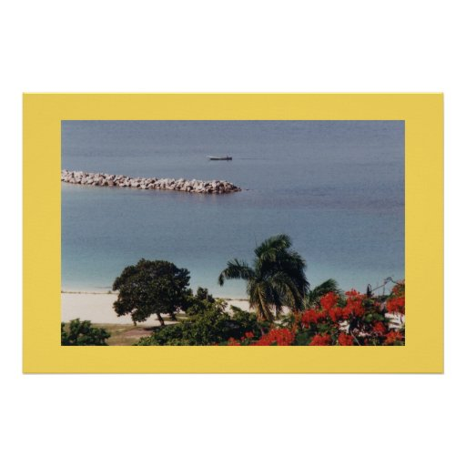 Overlooking Public Beach Montego Bay Large Canvas Print